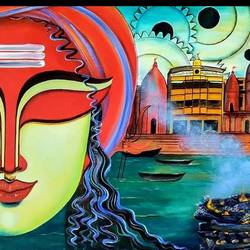 visheshwar s-2, 48 x 24 inch, susmita mandal,48x24inch,canvas,paintings,lord shiva paintings,paintings for living room,acrylic color,GAL01940536296