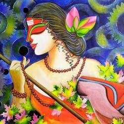 shivangi, 46 x 26 inch, susmita mandal,46x26inch,canvas,paintings,contemporary paintings,paintings for living room,paintings for hotel,acrylic color,GAL01940536297