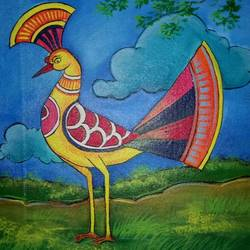 peacock bird , 14 x 16 inch, popo singh,abstract paintings,paintings for living room,animal paintings,canvas,watercolor,14x16inch,GAL013293630
