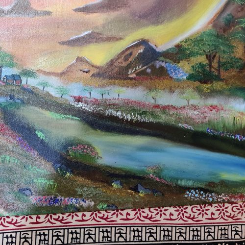 eternal peace with river's flow, 15 x 22 inch, kawaljeet kaur nagi,15x22inch,canvas board,paintings,wildlife paintings,landscape paintings,still life paintings,nature paintings | scenery paintings,paintings for dining room,paintings for bedroom,paintings for hotel,oil color,GAL01004036303