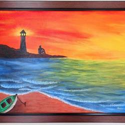 sunset at light house, 24 x 20 inch, janhvi srivastava,24x20inch,canvas,paintings,landscape paintings,nature paintings | scenery paintings,art deco paintings,paintings for dining room,paintings for living room,paintings for hotel,acrylic color,GAL02483836308