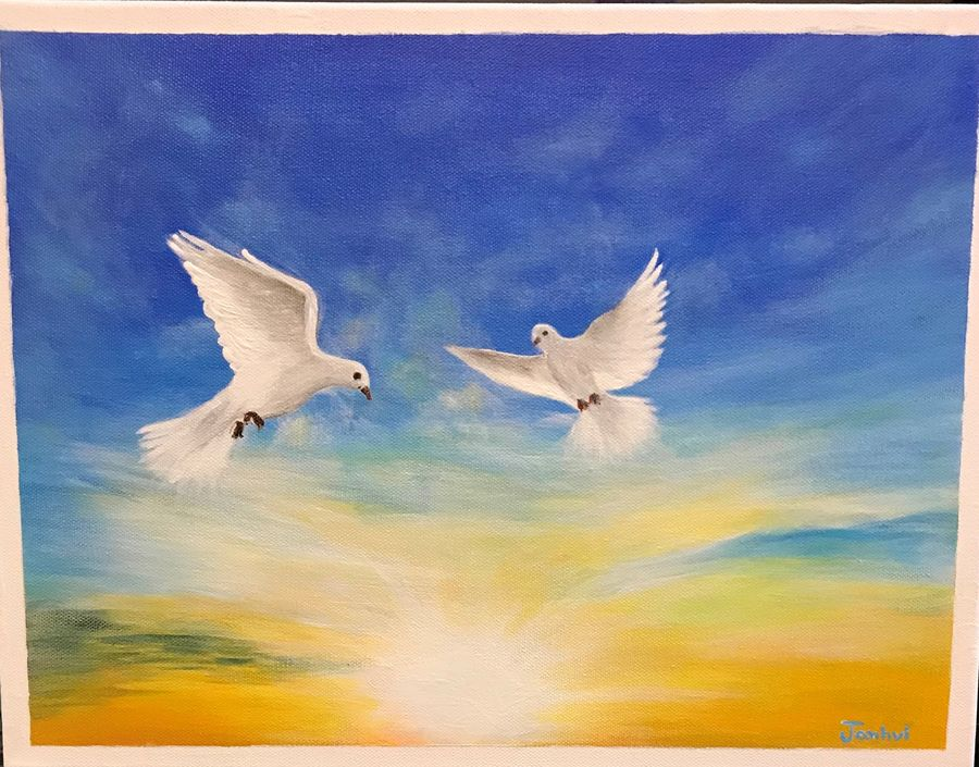 flying high - a pair of doves, 16 x 12 inch, janhvi srivastava,16x12inch,canvas,paintings,wildlife paintings,landscape paintings,conceptual paintings,nature paintings   scenery paintings,art deco paintings,animal paintings,paintings for dining room,paintings for living room,paintings for bedroom,paintings for office,paintings for kids room,paintings for hotel,paintings for school,paintings for hospital,acrylic color,GAL02483836310
