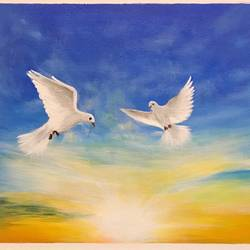 flying high - a pair of doves, 16 x 12 inch, janhvi srivastava,16x12inch,canvas,paintings,wildlife paintings,landscape paintings,conceptual paintings,nature paintings | scenery paintings,art deco paintings,animal paintings,paintings for dining room,paintings for living room,paintings for bedroom,paintings for office,paintings for kids room,paintings for hotel,paintings for school,paintings for hospital,acrylic color,GAL02483836310