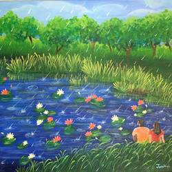 together with the beauty of nature, 20 x 16 inch, janhvi srivastava,20x16inch,canvas,paintings,flower paintings,landscape paintings,nature paintings | scenery paintings,art deco paintings,love paintings,paintings for dining room,paintings for living room,paintings for bedroom,paintings for hotel,acrylic color,GAL02483836311