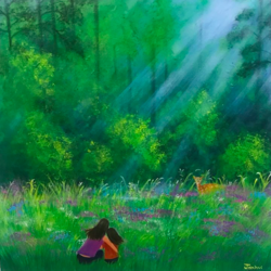 mother and daughter in the midst of nature, 18 x 18 inch, janhvi srivastava,18x18inch,canvas,paintings,wildlife paintings,flower paintings,landscape paintings,nature paintings | scenery paintings,art deco paintings,love paintings,children paintings,kids paintings,paintings for dining room,paintings for living room,paintings for bedroom,paintings for kids room,paintings for hotel,paintings for school,acrylic color,GAL02483836314