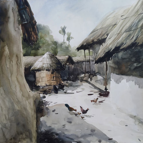 my native village, 26 x 22 inch, tapan mondal,26x22inch,paper,paintings,landscape paintings,paintings for dining room,paintings for living room,paintings for bedroom,paintings for office,paintings for hotel,paintings for school,paintings for hospital,watercolor,GAL02476836317