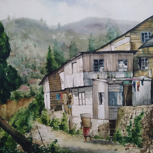 beauty of mountain life, 28 x 23 inch, tapan mondal,28x23inch,handmade paper,paintings,landscape paintings,paintings for dining room,paintings for living room,paintings for bedroom,paintings for office,paintings for hotel,paintings for school,paintings for hospital,watercolor,GAL02476836318