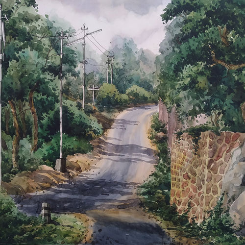 the hill station road, 26 x 22 inch, tapan mondal,26x22inch,paper,paintings,landscape paintings,paintings for dining room,paintings for living room,paintings for bedroom,paintings for office,paintings for kids room,paintings for hotel,paintings for school,paintings for hospital,paintings for dining room,paintings for living room,paintings for bedroom,paintings for office,paintings for kids room,paintings for hotel,paintings for school,paintings for hospital,watercolor,GAL02476836319