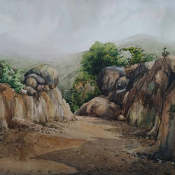 hill station road on process, 26 x 22 inch, tapan mondal,26x22inch,thick paper,paintings,landscape paintings,paintings for dining room,paintings for living room,paintings for bedroom,paintings for office,paintings for bathroom,paintings for hotel,paintings for kitchen,paintings for school,paintings for hospital,watercolor,GAL02476836320