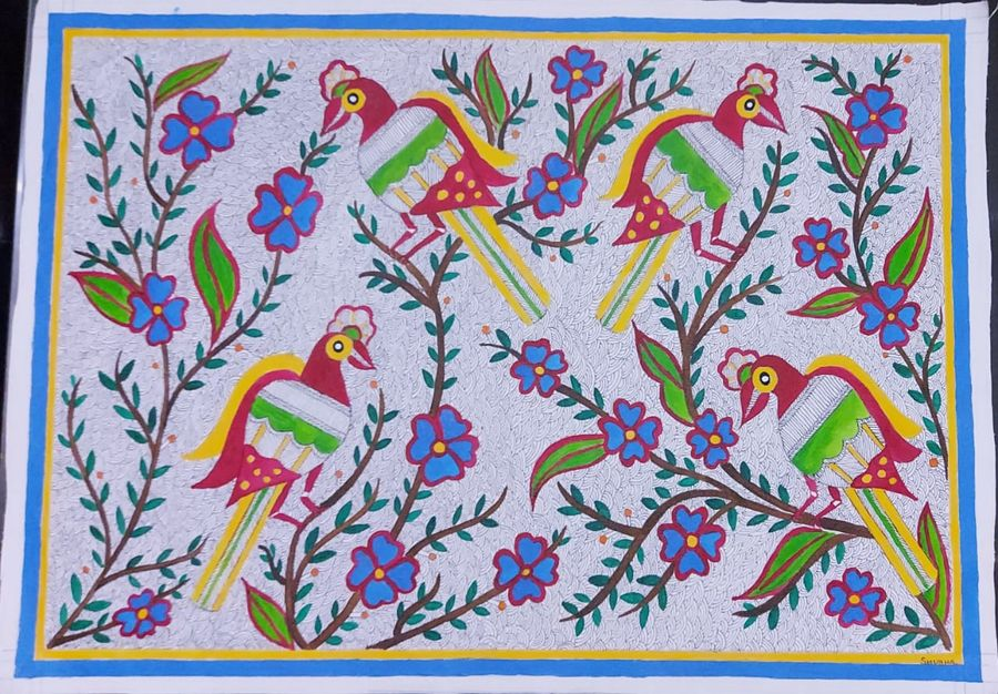madhubani painting, 25 x 21 inch, shubha shrivastava,25x21inch,canvas,paintings,folk art paintings,paintings for living room,paintings for bedroom,paintings for office,paintings for hotel,acrylic color,GAL02221336321