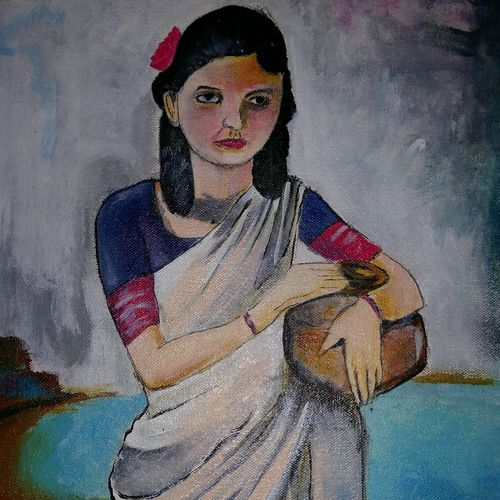 girl with pot , 13 x 17 inch, popo singh,abstract paintings,paintings for dining room,figurative paintings,canvas,watercolor,13x17inch,GAL013293633