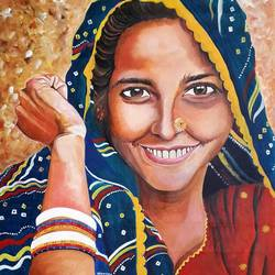 indian village woman , 18 x 24 inch, rachita bhaumik ,18x24inch,canvas,paintings,figurative paintings,paintings for dining room,paintings for living room,paintings for office,acrylic color,GAL02099636331
