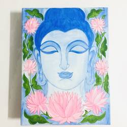 buddha with lotus flowers on canvas , 15 x 11 inch, munmun kochar ,15x11inch,canvas,paintings,buddha paintings,paintings for living room,paintings for office,paintings for hotel,paintings for school,paintings for hospital,acrylic color,GAL02470236334