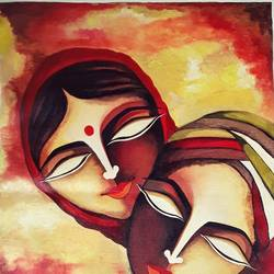 faces painting , 14 x 18 inch, rachita bhaumik ,14x18inch,canvas,paintings,figurative paintings,modern art paintings,paintings for dining room,paintings for living room,paintings for office,acrylic color,GAL02099636337