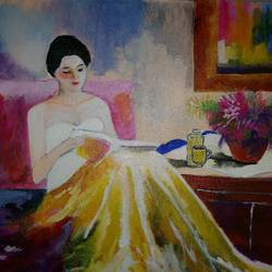 girl reading book, 16 x 12 inch, popo singh,abstract paintings,paintings for living room,canvas,watercolor,16x12inch,GAL013293634