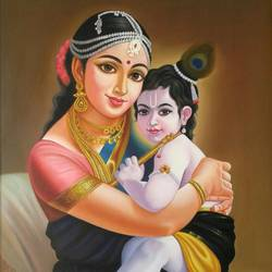 lord krishna and yasoda , 24 x 36 inch, sujitha artgallery,24x36inch,canvas,paintings,figurative paintings,paintings for living room,paintings for living room,oil color,GAL049636345