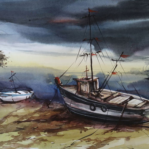 fishing boats at sea side, 22 x 15 inch, tapan mondal,22x15inch,paper,paintings,landscape paintings,paintings for dining room,paintings for living room,paintings for bedroom,paintings for office,paintings for bathroom,paintings for kids room,paintings for hotel,paintings for kitchen,paintings for school,paintings for hospital,watercolor,GAL02476836348