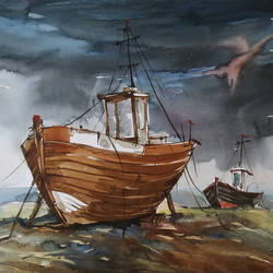 fishing boats and stormy day, 22 x 15 inch, tapan mondal,22x15inch,paper,paintings,landscape paintings,paintings for dining room,paintings for living room,paintings for bedroom,paintings for office,paintings for bathroom,paintings for kids room,paintings for hotel,paintings for kitchen,paintings for school,paintings for hospital,watercolor,GAL02476836349