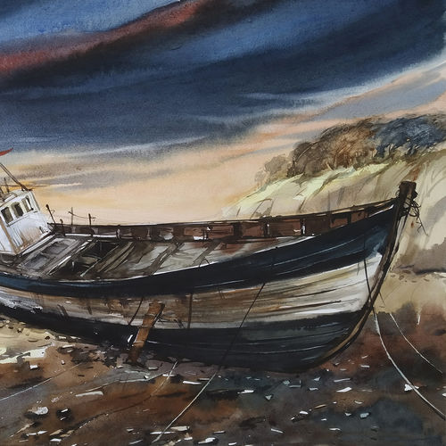 fishing boats and sunset, 22 x 15 inch, tapan mondal,22x15inch,paper,paintings,landscape paintings,paintings for dining room,paintings for living room,paintings for bedroom,paintings for office,paintings for bathroom,paintings for kids room,paintings for hotel,paintings for kitchen,paintings for school,paintings for hospital,watercolor,GAL02476836350