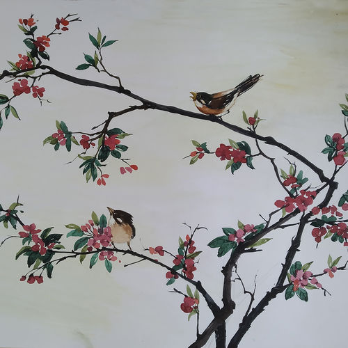 red flower and birds, 22 x 15 inch, tapan mondal,22x15inch,paper,paintings,flower paintings,landscape paintings,paintings for dining room,paintings for living room,paintings for bedroom,paintings for office,paintings for bathroom,paintings for kids room,paintings for hotel,paintings for kitchen,paintings for school,paintings for hospital,watercolor,GAL02476836352