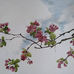 tree with full of flowers, 22 x 15 inch, tapan mondal,22x15inch,paper,paintings,flower paintings,landscape paintings,paintings for dining room,paintings for living room,paintings for bedroom,paintings for office,paintings for bathroom,paintings for kids room,paintings for hotel,paintings for kitchen,paintings for school,paintings for hospital,watercolor,GAL02476836353