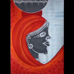 lady, 12 x 16 inch, isha shah,12x16inch,thick paper,paintings,figurative paintings,folk art paintings,paintings for living room,paintings for office,watercolor,GAL02476536354