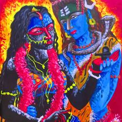 better half shiva & kali, 23 x 33 inch, shiuli majumder,23x33inch,canvas,paintings,abstract paintings,figurative paintings,religious paintings,love paintings,lord shiva paintings,paintings for dining room,paintings for living room,paintings for bedroom,paintings for office,paintings for kids room,paintings for hotel,acrylic color,GAL01355236358