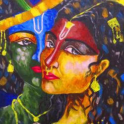 mira & krishna 02, 11 x 17 inch, shiuli majumder,11x17inch,canvas,paintings,abstract paintings,religious paintings,radha krishna paintings,paintings for dining room,paintings for living room,paintings for bedroom,paintings for office,paintings for kids room,paintings for hotel,acrylic color,GAL01355236359