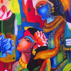 shiv & parbati loving painting by pragga majumder, 25 x 32 inch, shiuli majumder,25x32inch,canvas,paintings,abstract paintings,religious paintings,lord shiva paintings,paintings for dining room,paintings for living room,paintings for bedroom,paintings for office,paintings for kids room,paintings for hotel,fabric,GAL01355236361