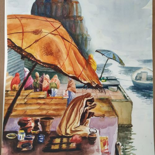 holy ghats of varanasi, 12 x 17 inch, subrata boral,12x17inch,brustro watercolor paper,paintings,landscape paintings,paintings for dining room,paintings for living room,paintings for bedroom,paintings for office,paintings for kids room,paintings for hotel,paintings for school,paintings for hospital,watercolor,GAL02302336362