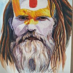 a sadhu, 12 x 17 inch, subrata boral,12x17inch,brustro watercolor paper,paintings,portrait paintings,paintings for living room,paintings for office,paintings for school,paintings for hospital,watercolor,GAL02302336363