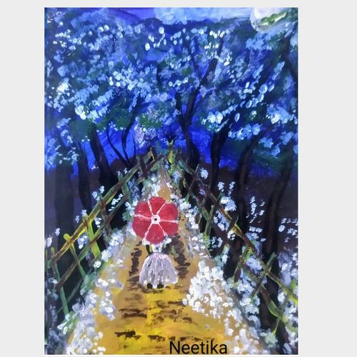 a girl with umbrella, 6 x 8 inch, neetika singh,6x8inch,paper,paintings,paintings for dining room,paintings for living room,paintings for bedroom,paintings for office,paintings for bathroom,paintings for kids room,paintings for hotel,paintings for school,acrylic color,GAL02490836365