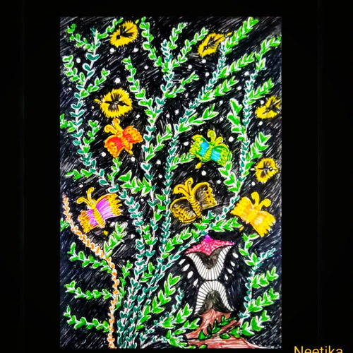 garden, 5 x 8 inch, neetika singh,5x8inch,paper,paintings,paintings for dining room,paintings for living room,paintings for bedroom,paintings for office,paintings for bathroom,paintings for hotel,paintings for kitchen,paintings for school,pen color,ball point pen,GAL02490836370