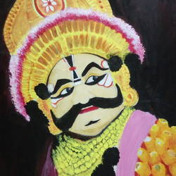 yakshagana, 12 x 14 inch, nireeksha acharya,12x14inch,thick paper,portrait paintings,paintings for living room,paintings for living room,watercolor,GAL02175636371