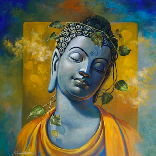 buddha, 30 x 30 inch, sanjay lokhande,30x30inch,canvas,buddha paintings,paintings for dining room,paintings for living room,paintings for bedroom,paintings for office,acrylic color,GAL089136372