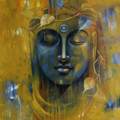 buddha, 30 x 30 inch, sanjay lokhande,30x30inch,canvas,buddha paintings,paintings for dining room,paintings for living room,paintings for bedroom,paintings for office,acrylic color,GAL089136373