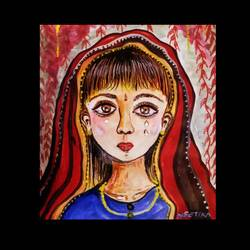 big eyed sad girl child, 8 x 11 inch, neetika singh,8x11inch,paper,paintings,paintings for dining room,paintings for living room,paintings for bedroom,paintings for office,paintings for school,acrylic color,GAL02490836376