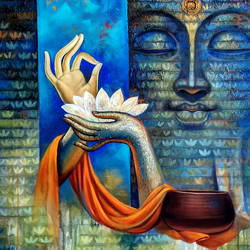middle way, 30 x 30 inch, sanjay lokhande,30x30inch,canvas,buddha paintings,acrylic color,GAL089136378