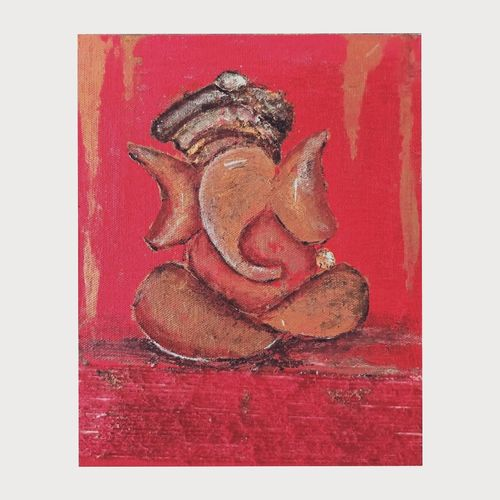 ganesha, 8 x 10 inch, panchami goswami,8x10inch,canvas,paintings,religious paintings,ganesha paintings   lord ganesh paintings,paintings for dining room,paintings for living room,paintings for bedroom,paintings for office,acrylic color,GAL02491736381