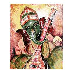 ganesha, 8 x 10 inch, panchami goswami,8x10inch,canvas,paintings,religious paintings,ganesha paintings | lord ganesh paintings,paintings for dining room,paintings for living room,paintings for bedroom,paintings for office,acrylic color,GAL02491736382