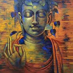 buddha, 48 x 48 inch, sanjay lokhande,48x48inch,canvas,buddha paintings,paintings for dining room,paintings for living room,paintings for bedroom,paintings for office,acrylic color,GAL089136385