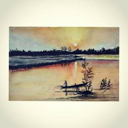 splendid sunset of majuli, 8 x 12 inch, panchami goswami,8x12inch,brustro watercolor paper,landscape paintings,watercolor,GAL02491736388