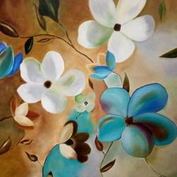 new art, 36 x 36 inch, varalakshmi b,art deco paintings,paintings for living room,flower paintings,canvas,oil paint,36x36inch,GAL013463639