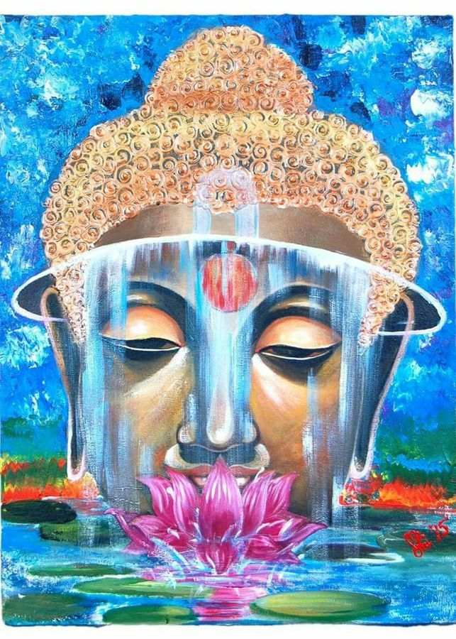 gautam buddha, 18 x 24 inch, mohi jaya,abstract paintings,paintings for bedroom,buddha paintings,hardboard,acrylic color,18x24inch,religious,peace,meditation,meditating,gautam,goutam,buddha,modern art,blue,lotus,face,idol,workship,GAL0157364