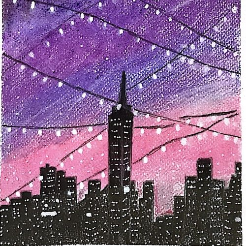 bright lights! city lights!, 6 x 8 inch, aishwarya kulkarni,6x8inch,brustro watercolor paper,drawings,conceptual drawings,illustration drawings,modern drawings,paintings for dining room,paintings for living room,paintings for bedroom,paintings for office,paintings for kids room,paintings for hotel,paintings for kitchen,pastel color,GAL02413336405