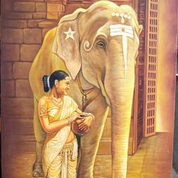 women with elephant, 24 x 36 inch, sharif arts,24x36inch,canvas,elephant paintings,paintings for dining room,paintings for living room,paintings for office,paintings for kids room,paintings for hotel,paintings for school,paintings for dining room,paintings for living room,paintings for office,paintings for kids room,paintings for hotel,paintings for school,oil color,GAL02483436406