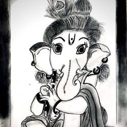 lord ganesha playing flute/ bansuri, 11 x 15 inch, aishwarya kulkarni,11x15inch,ivory sheet,drawings,figurative drawings,portrait drawings,ganesha drawings,paintings for living room,paintings for bedroom,paintings for kids room,paintings for kitchen,paintings for school,paintings for hospital,charcoal,GAL02413336407