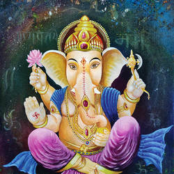 elegant ganpati, 18 x 24 inch, shobin george,18x24inch,canvas,paintings,figurative paintings,religious paintings,still life paintings,realism paintings,ganesha paintings | lord ganesh paintings,realistic paintings,paintings for dining room,paintings for living room,paintings for bedroom,paintings for office,paintings for kids room,paintings for hotel,paintings for school,paintings for hospital,acrylic color,fabric,GAL02366336411