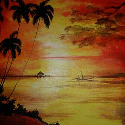 dawn view of a lake, 19 x 15 inch, popo singh,paintings for dining room,landscape paintings,nature paintings,canvas,watercolor,19x15inch,GAL013293642Nature,environment,Beauty,scenery,greenery