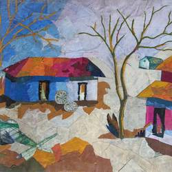 collage art, 14 x 21 inch, aniruddha lanjewar,14x21inch,handmade paper,paintings,landscape paintings,nature paintings | scenery paintings,paintings for dining room,paintings for living room,paintings for bedroom,paintings for office,paintings for kids room,paintings for hotel,paintings for school,paintings for hospital,mixed media,GAL02486636425